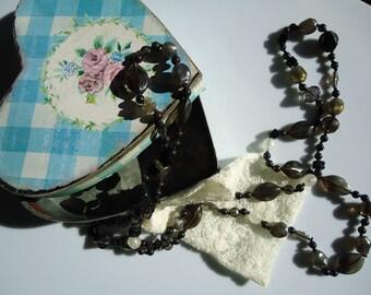 Valentine's Day, long necklace, black necklace, grey necklace, semiprecious stones, plastic necklace, long necklace, woman necklace, girl necklace, bohemian