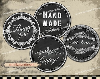 Black and White Printable Chalkboard labels Instant Editable Labels Tags download digital collage sheet