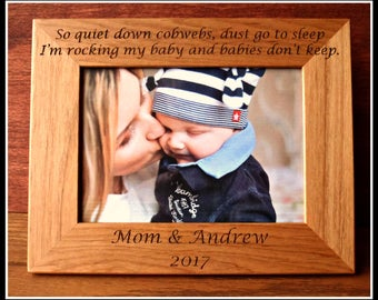 Baby Picture Frame, New Mother, New Mom, Personalized Picture Frame New Mom Gift Quiet Down Cobwebs Baby Boy Girl, Custom Baby Shower Gift
