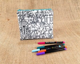 Unicorn Coloring Pencil Case, Adult Coloring Zipper Pouch, Unicorn Gift for Girls, Unicorn Birthday Gift, Unicorn Kids, Teen Girl Gift