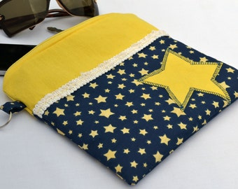 Yellow twinkle little star, large clutch purse, zippered pouch, summer clutch, wristlet, boho clutch, makeup bag, clutch with stars