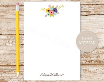 personalized notepad . floral notepad . flower bunch note pad . bouquet notepad . personalized stationery . womens stationary