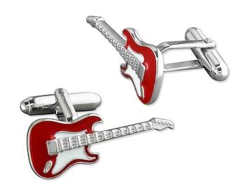 Red Enamel Rock Guitar Sterling Silver Cufflinks