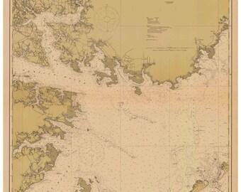 Pamlico Sound 1914 Western Sheet - Outer Banks Ocracoke Vandemere Swanquarter  North Carolina - Nautical Map  Reprint  80000 AC Chart 1231