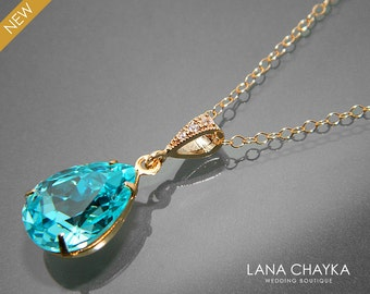 Light Turquoise Crystal Necklace Swarovski Turquoise Rhinestone Gold Pendant Teal Teardrop Wedding Necklace Turquoise Gold Bridal Necklace