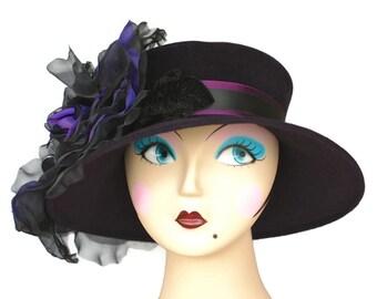 WIDE BRIM Black Felt Winter Hat Church Hat Womens Hat WIDE Brim Winter Hat