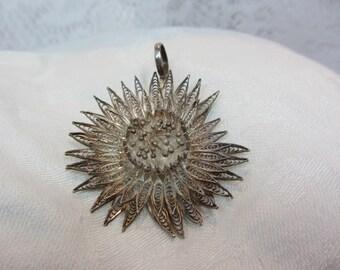 Silver Filigree Thistle Flower Pendant
