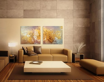 """Gold Painting Abstract Acrylic 60""""x30"""" on Wood Gold Wall Art Decor Golden Painting Gold Painting Gold Wall Decor"""