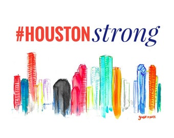 Houston Strong / Hello from Houston / Digital Print by Genie Mack / FLOOD DONATION
