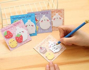 Molang Sticky Notes, Rabbit, Cute Kawaii, set of 4, Kawaii Stationery, Post it, Kawaii Notepad, memo pad, note pad, Planners, Stick Marker,
