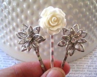 Wedding Hair Pin Set, White Rose Bobby Pin, Rhinestone Hair Accessory, Hair Accessory, Small Gift, Stocking Stuffer, Glam Hair Pins