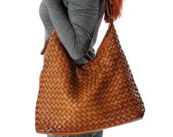 Crossbody Bag, Brown Bag For Women, Leather Cross Body, Brown Crossbody Bag, Brown Crossbody, Woven Bag, Messenger Bag Women, Brown Hobo Bag