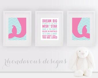 Baby Girl Nursery Art - Girl Nursery Decor - Girl Nursery Print - Mermaid Nursery Art - Mermaid Art - Mermaid Print - Pink Blue (NS-574)