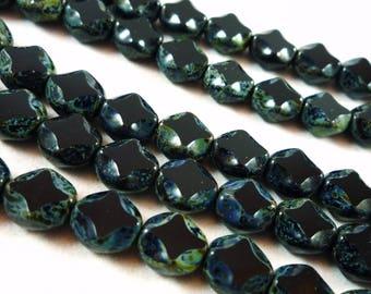 5 Black diamonds (ptch107) 9X8mm Picasso Czech glass beads