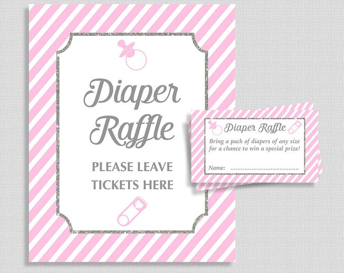 Pink Diaper Raffle Sign & Tickets, Pink and Gray Stripe Baby Shower Diaper Request, Invitation Insert, Baby Girl, INSTANT PRINTABLE
