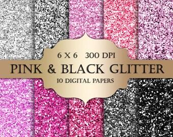 Pink & Black glitter digital paper - Glitter, silver, pink glitter, Scrapbooking Paper, black glitter backgrounds, sparkle for invitations