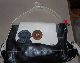 Newfoundland Dog Hand Painted Handbag Bag Purse FINAL SALE