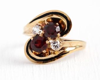 Sale - Vintage Garnet Ring - 10k Rosy Yellow Gold Black Enamel Genuine Red Gem Bypass Statement - 1960 Size 8 1/2 January Birthstone Jewelry