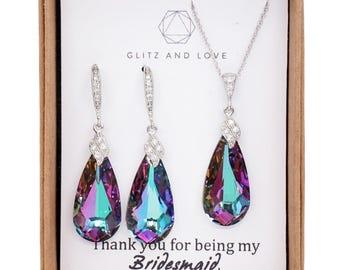 Bridesmaid Bridal purple Earrings Necklace Jewelry set, Swarovski Crystal Purple wedding jewelry, bridal shower gifts idea, Eathelyn
