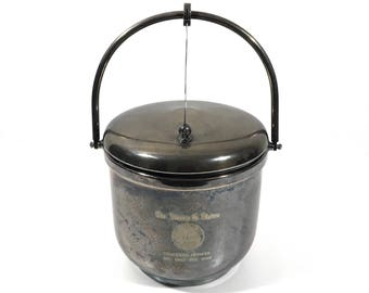 Silver Ice Bucket with USS Sculpin Navy Submarine, Vintage Commemorative Award for USN Officer