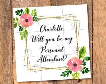 Personal Attendant gift Geometric wedding invitation Geometric Bridesmaid proposal Will you be my Personal Attendant proposal Maid of Honor