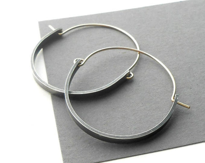 Featured listing image: Oxidized Sterling Silver and Gold Filled Modern Hoop Earrings