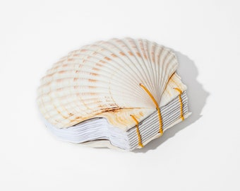 Large Scallop Shell Journal | White and Gold, Coptic Stitch