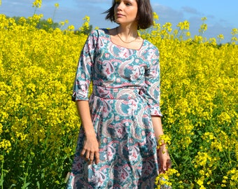 New Shanti Anarkali Dress,Pure Cotton,Hand Block Printed,Bohemian,Green,Red,Casual,Occasional,Ethical Fashion,Handmade,Spring,Summer,Holiday