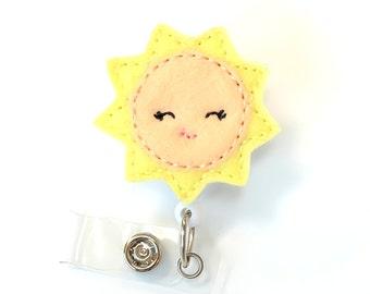 Sunshine - Name Badge Holder - Cute Badge Reels - Unique Retractable ID Badge Holder - Felt Badge Reel - RN Badge - BadgeBlooms