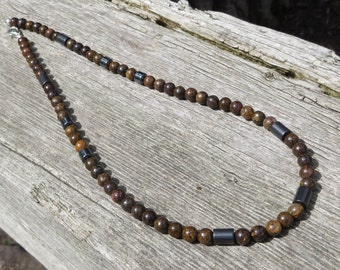 Bronzite and Hematite Beaded Necklace, Dark Brown Necklace, Gift Idea Men or Women, Urban Boho, Jewelry for Him, Her