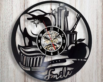 Wall Clock For Office. Dentist Gift, Vinyl Record Wall Clock, Office Decor,