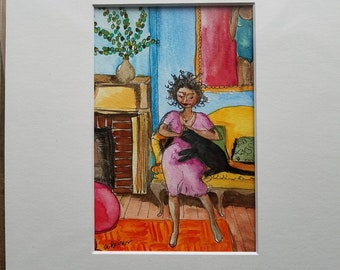 """Woman and Cat a colorful original watercolor, 4"""" x 6"""" in 8"""" x 10"""" mat."""