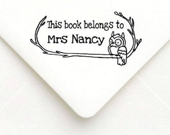 Custom Teacher Stamp, Teacher Rubber Stamp, Teacher Gift Stamp, Personalized Name Teacher Stamp, This book belongs to, Owl book stamp B07