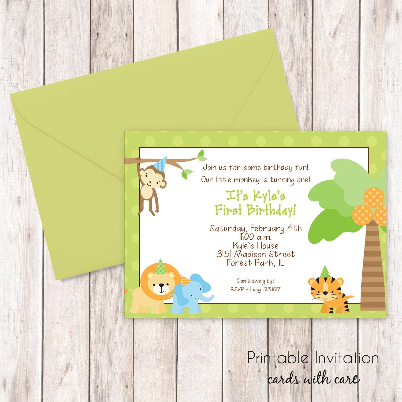 Dschungel 1. Geburtstags-Einladung Dschungel-Baby-Dusche