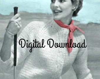 Women's Knit Cardigan Pattern Vintage Digital Download
