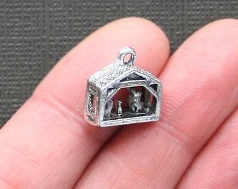 5 Nativity Charms Antique Silver Tone 3 Dimensional Manger Charm - XC060