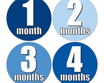 12 Monthly Baby Milestone Waterproof Glossy Stickers - Just Born - Newborn - Weekly stickers available - Design M017-07