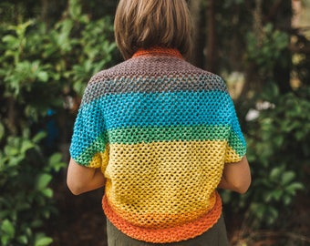 Rainbow Mesh Blanket Sweater--Small to Medium