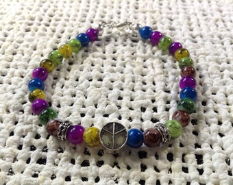Regenboog vrede armband