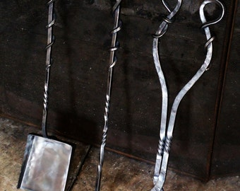 Hand Forged Fireplace Set, Wrought Iron, Fireplace Tools, Fire Tongs, Fire  Poker