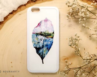 Painting phone case, iPhone case, phone accessories, abstract painting, landscape on leaf