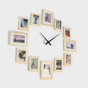Photo Picture Frame Wall Clock   Natural 12