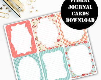 Floral Print Journaling Card Printable / Journal Cards / Scrapbook Kit / Journaling List / Listers Gotta List / Instant Download 00082