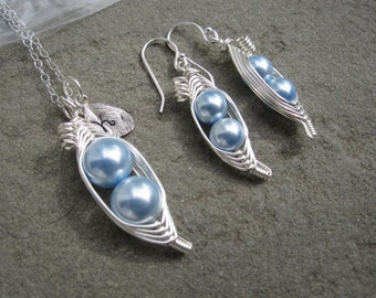 Sweet Pea Pod Jewelry Set