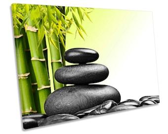 Zen Stones Bamboo Spa Green CANVAS WALL ART Framed Print