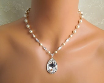 pearl necklace, bridal necklace, bridal pearl rhinestone necklace, Swarovski crystal necklace, statement necklace, ivory pearl,  SAHARA