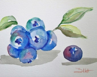 Bunch of blueberries berry original watercolor painting Art by Delilah