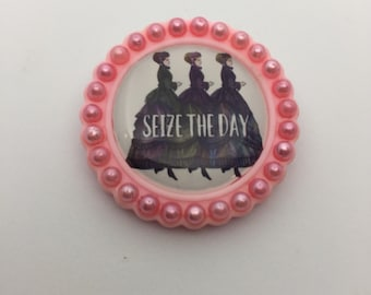 "Pearly Pink ""Seize the Day"" Pin/Brooch"