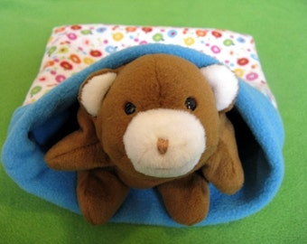 small animal cozy pocket pet sleeping bag apples cherries fruit