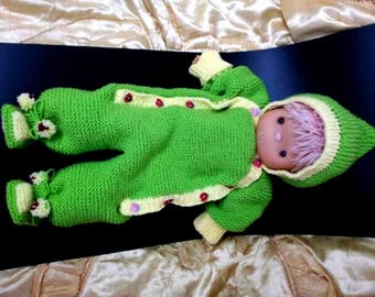 hand made knitted newborn baby  coveralls, very soft and beautiful